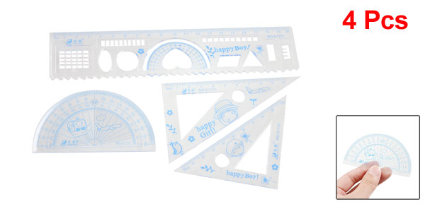 Set 4 Pcs Printed Clear Blue Plastic Students Ruler Protractor