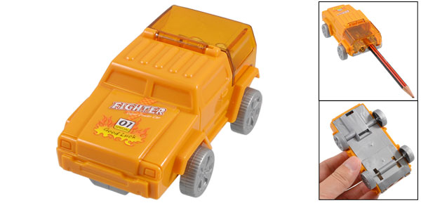 Car Shaped Double Hole Design Plastic Pencil Sharpener Light Orange