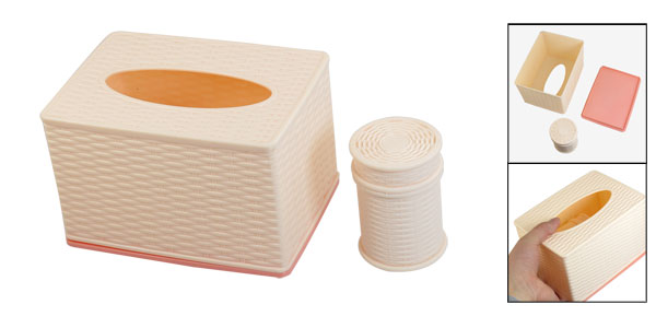 Light Pink Woven Pattern Plastic Tissue Paper Case Box w Toothpick Holder
