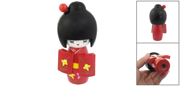 Red Black Flower Pattern Decor Kimono Smiling Girl Wood Kokeshi Doll