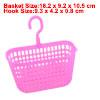 Rectangle Shaped Fuchsia Plastic Kitchen Storage Lattice Hook Basket