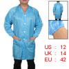 Men Women Blue Striped Pattern Anti Static Overall Gown Uniform L