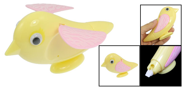 Students Yellow Pink Bird Shaped Plastic Case Paper Correction Tape