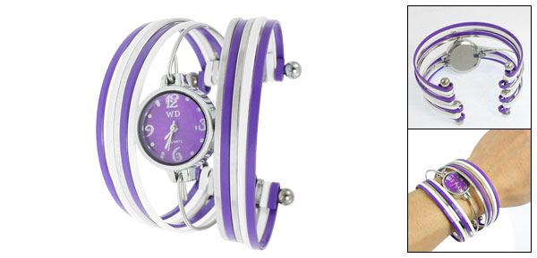 Purple White Silver Tone Strand Metal Bracelet Wrist Watch for Ladies