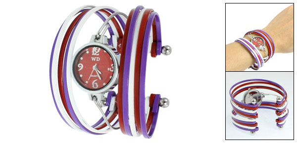 Purple White Red Strand Metal Bracelet Wrist Watch for Ladies