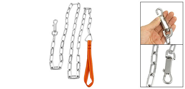 Silver Tone Metal Chain Red Nylon Collar Leash Kit for Pets Training