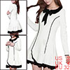 Ladies Peter Pan Collar Long Sleeve Scalloped Hem Mini Dress Whit...