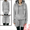 Ladies Light Grey Long Sleeves Hooded Hoodie w Drawstring Shorts ...