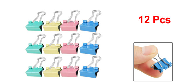 School 12Pcs 15mm Colors Spring-Loaded Metal File Binder Clips