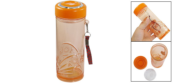 Orange Outdoor Sports Hiking Cycling 600ml Tea Strainer Water Drink Bottle w Hand Strap