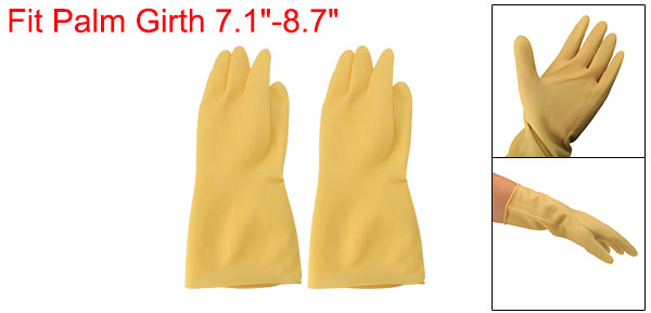 Household Kitchen Latex Rubber Dishwashing Skincare Cleaning Gloves Beige Pair