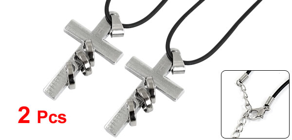 Pair Silver Tone Cross Pendant Adjustable Braided String Necklace Chokers for Lovers