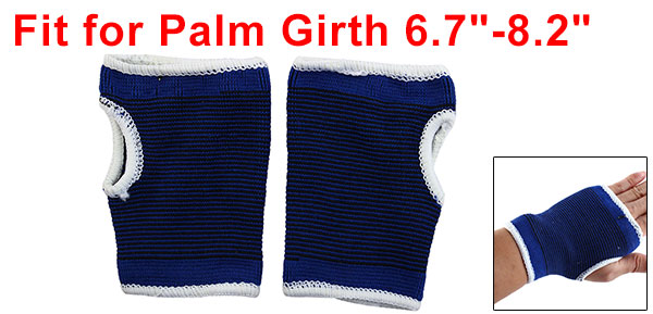 Sports Black Pinstriped Print Palm Support Protectors Blue 2 Pcs
