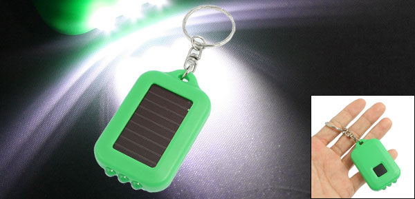 Plastic Rectangle Shaped Solar Power White 3 LED Light Keyring Flashlight Green