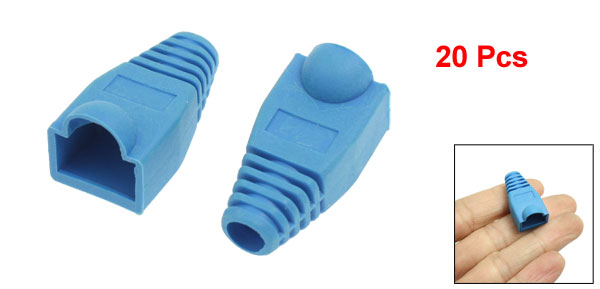 Network Cable Boots Cap Cover for RJ45 Connectors Blue 20 Pieces