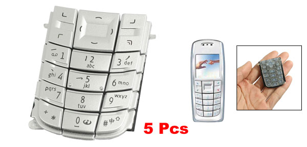 5Pcs Repair Parts Keypad Keyboard Button Silver Tone for Nokia 3120