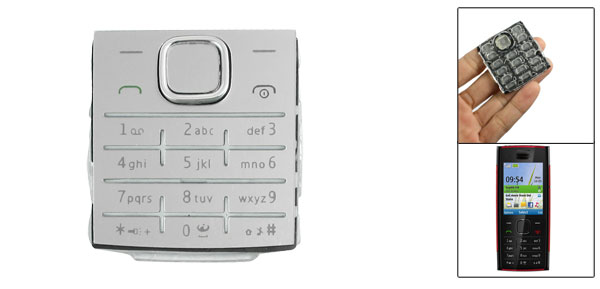 Silver Tone Repairing Plastic Silicone Keyboard Keypad for Nokia X2