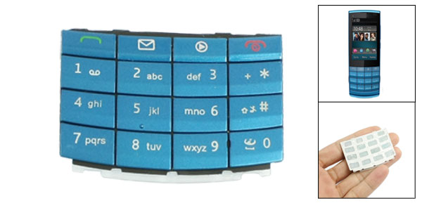 Blue Repairing Plastic Silicone Keyboard Keypad for Nokia X3-02