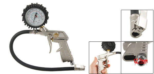 Auto Bike Motorcycle Tire Metal Grip Inflator w Air Pressure Gauge