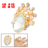 Rhinestone Accent Clear Crystal Centering Crown Style Finger Ring...