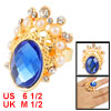 Lady Rhinestone Decor Blue Crystal Inlaid Crown Style Finger Ring...