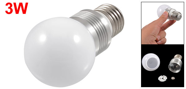 White Plastic Ball Style E27 Screw Base 3W Light Bulb Housing