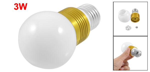 E27 Screw Base White Plastic Ball Shaped 3W Light Bulb Housing
