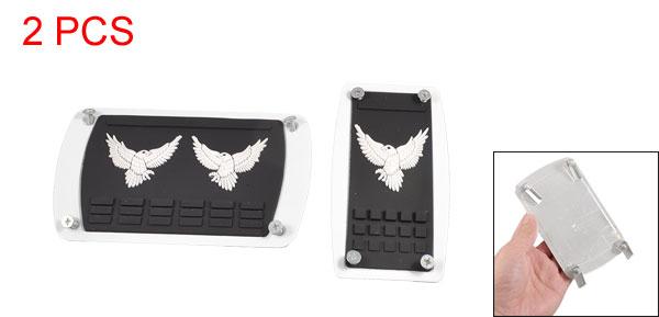 2 Pcs Textured Eagle Design Gas Break Pedal Cover Black White for Car Auto