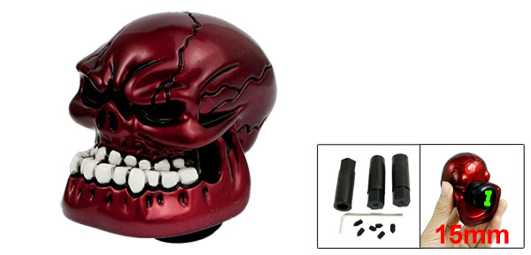 Burgundy Carved Wicked Skull Car Universal Manual Gear Shift Lever Knob Shifter