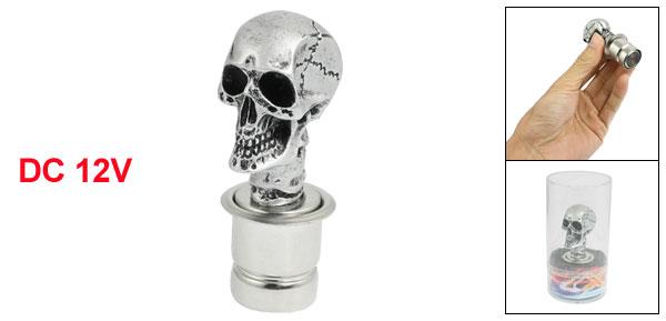 Silver Wicked Craved Skull Universal DC12V Car Cigarette Lighter Socket Plug