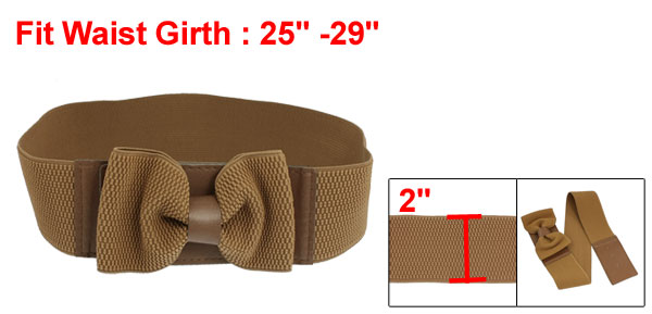 Ladies Hook Buckle Closure Textured Elastic Waist Belt Corset Band Brown