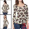 Allegra K Lady 3/4 Sleeve Scoop Neck Flower Pattern Shirt Beige XS