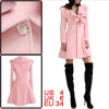Ladies Long Sleeve Flouncing Trim Collar Pink Pleated Hem Overcoa...