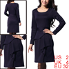 Women Long Sleeves Round Neck Ruffle Decor Dress Purple XS