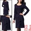 Ladies Dark Purple Scoop Neck Long Sleeves Casual Dress S