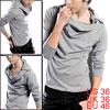 Men Light Gray Hoodie Style Epaulets Detail Casual Autumn Shirt S