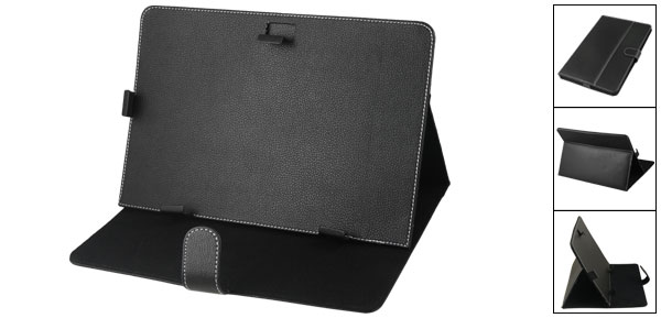 Black Faux Leather Cover Pouch Case Holder for 10