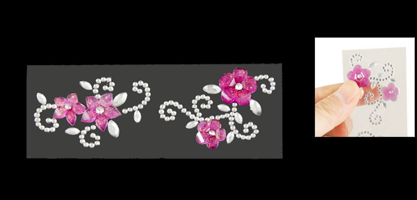 Light Purple Rhinestones Floral Vines Art Decorative Sticker