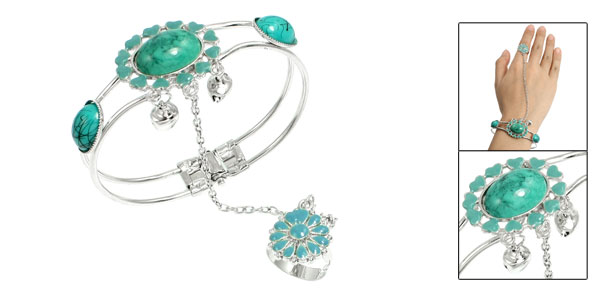 Southeast Asian Style Oval Flowers Ring Bracelet Bangle Turquoise Silver Tone