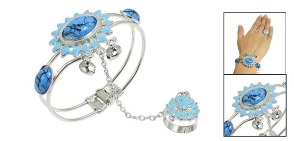 Lady Fashion Oval Flower Design Light Blue Beads Decor Finger Ring Bracelet