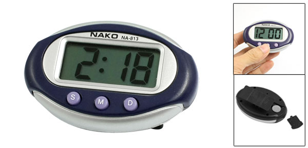 Navy Blue Silver Tone Oval Shape Case Battery Powered Digital Clock