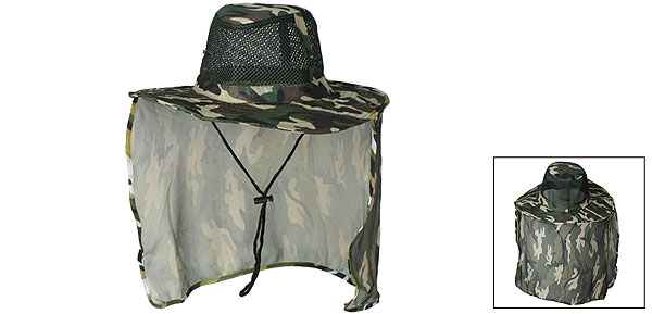 Unisex Adjustable Chin Strap Camouflage Print Flap Bucket Hat