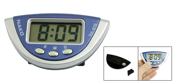 Silver Tone Blue fanshape Case Digital LCD Display Alarm Clock