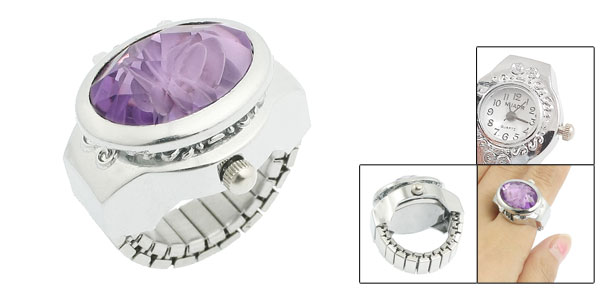 Woman US 41/2 Silver Tone Faux Purple Crystal Finger Ring Watch