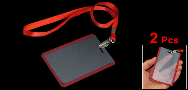 2 Pcs   Office Red Lanyard Vertical B8 ID Name Badge Card Holders