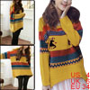 Ladies Irregular Hem Scoop Neck Stripes Deer Pattern Sweater Yell...