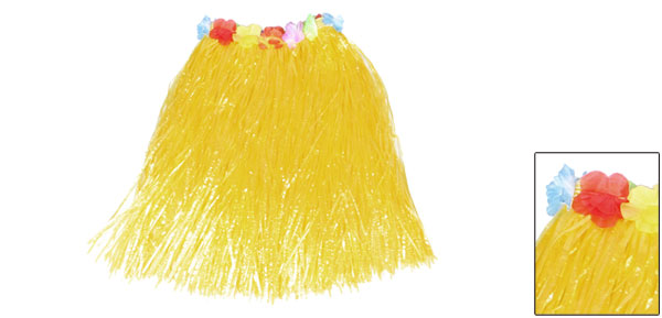 Colorful Flowers Decor Halloween Hawaiian Hula Grass Skirt Yellow for Lady