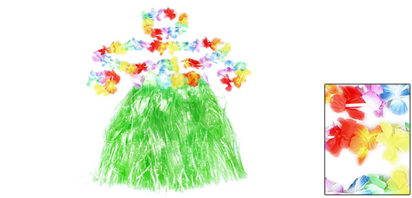 Colorful Flowers Decor Halloween Hawaiian Hula Grass Skirt Green for Girl