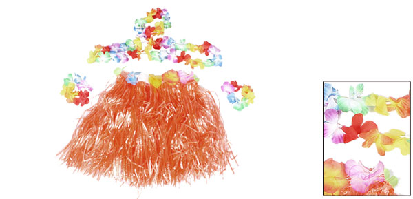 Colorful Flowers Decor Halloween Hawaiian Hula Grass Skirt Orange for Girl