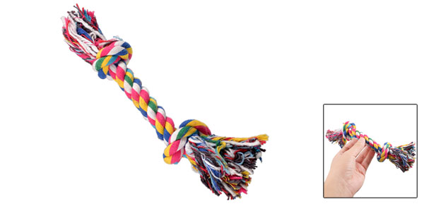 Dog Puppy Pets Multi Color Braided Bone Rope Chew Knot Toy 9